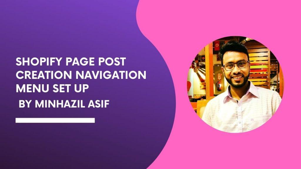 SHOPIFY Page Post creation navigation menu set up