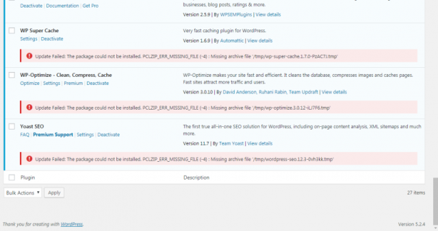 Fixed: PCLZIP_ERR_MISSING_FILE(-4): Missing Archive File '/tmp/*.tmp'