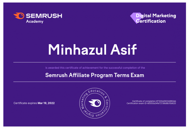 Semrush Affiliate Program Terms Exam Answer 2021