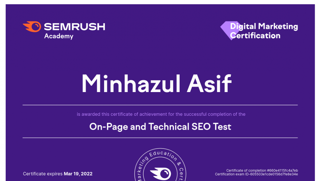 Semrush On-Page and Technical SEO Test Answers